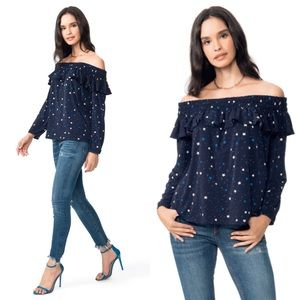 NWT leota Aurora blouse in galaxy star print